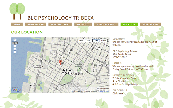 Website Development & Google Apps setup for BLC Psychology Tribeca