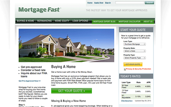 Web Design & Development for Mortgage Fast