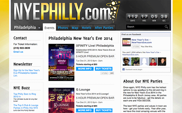 Web Design & Development for NYE Philly